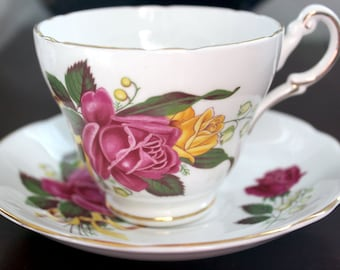Regency Dark Pink and Yellow Roses Teacup