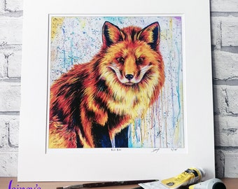Fox PRINT, limited edition print, giclee print, Fox, british fox, fox lover, home decor, bedroom art, fox wall art
