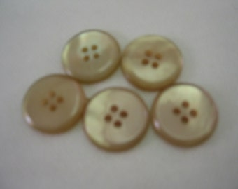 "Tan buttons, Beige Buttons, Size  13/16"" (20mm),  Lot of 6"