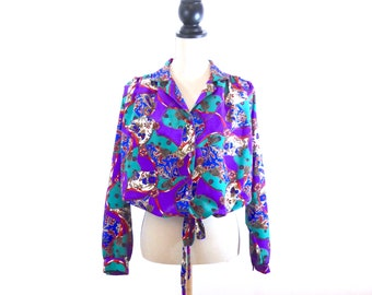 1980s Statement Print, Blouse, Equestrian, Batwing, Silk Blouse, Satin Blouse, Vintage Blouse, Vintage Top, Print Blouse, Over Size Top, Top