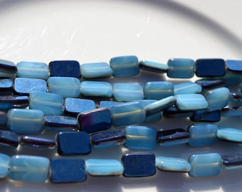 Blue Opal Metallic 12x8mm Rectangle Czech Glass Beads  10