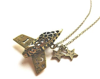 Clearance sale Jet plane spaceship and stars charm antique bronze necklace