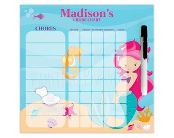 Mermaid Personalized Dry Erase Chore Chart | Custom with 5-7 Days of the Week | Under the Sea