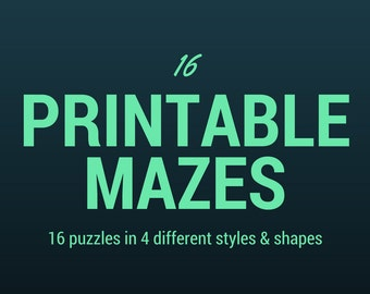 PRINTABLE ~ 16 Pack of Mazes ~ Puzzles ~ Digital Download