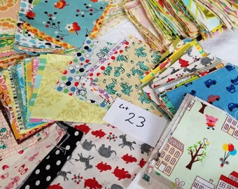 Lot 23 Quilting Scraps, Flat Rate Envelope stuffed with cotton designer fabrics. Grab Bag for Patchwork, Small sewing projects
