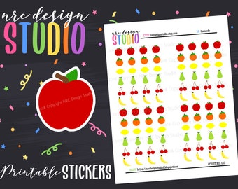 SALE Planner Stickers Printable, Fruit Stickers, Food Stickers - Fruit No. 03