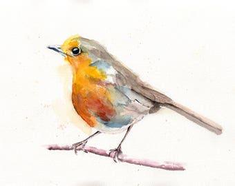 WATERCOLOR BIRD, WATERCOLOUR,  Robin Bird Art, Wall Art, Watercolour Art, Watercolor Art