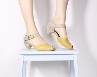 Yellow sandals, Women's leather Peep Toe sandals , gray and yellow handmade pumps , ADIKILAV On Sale ,free shipping