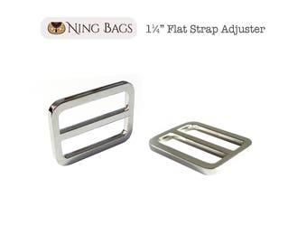 """Set of 6 // 1-1/4"""" Strap Adjuster, Squared Edges Strap Slider, Flat Strap Adjuster in Nickel Finish"""