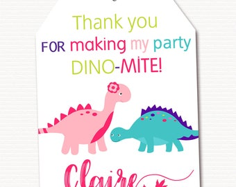 Girl Dinosaur Thank You Tag, Dinosaur Favor Tag, Dinosaur Thank You Tag, Dinosaur Gift Tag, Party Bag Tag, Personalized, PRINTABLE