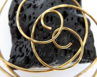 Medium Hoop Earrings . NOTSO THINNI 45mm. Swirl. Hammered Surface. 20 gauge 24K Gold  Plated wire . Free Shipping item