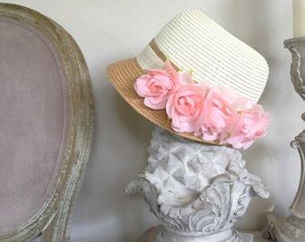 Kentucky Derby Hat, Pink Floral, Bridal Straw Hat, Down Town Abbey, Summer Wedding, Fascinator, Shabby Chic, Floral Hat, Straw Summer Hat