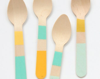 Colorblock - Wooden Ice Cream Spoons - Cool Colors