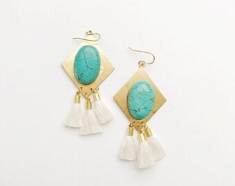Turquoise Gem Tassel Earrings