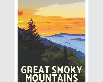 Great Smoky Mountains National Park travel poster print WPA style—10% of sale donated to NPS