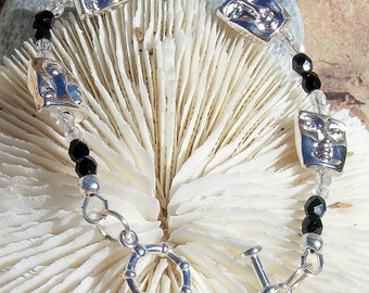 Silver Bracelet, Silver Faces and Fire Polished Beads Jewelry B013
