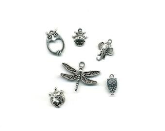 6 charms, pendants, animal theme antique silver metal