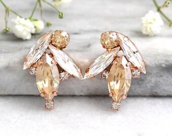 Bridal Earrings, Champagne Crystal Earrings, Swarovski Bridal Earrings, Gift for her, Champagne  Cluster Earrings, Bridesmaids Earrings