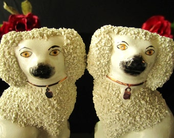 Reserved For Francis F English Staffordshire Dogs Statues Figurines Pair Beswick King Charles Spaniel Wally Dogs Fireplace Dogs