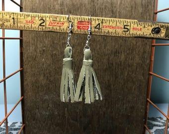 Leather Tassel Earrings - Sage Green