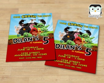 Angry Birds Invitation, Personalized Angry Birds Printable, Angry Birds Birthday, Angry Birds Invitations,