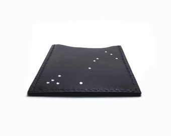 Constellation Black Leather Card Case / Card Holder / Silver Stars / Scorpio Zodiac Sign / Leather wallet
