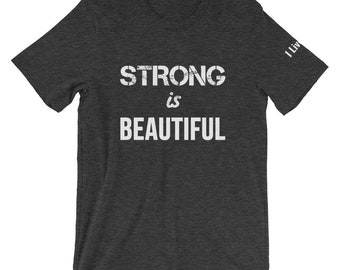Strong Is Beautiful Shirt | I Live Life brand Vintage Gym Shirts for Women Top Women Fitness Gifts Ladies Workout Gifts Short Sleeve Unisex