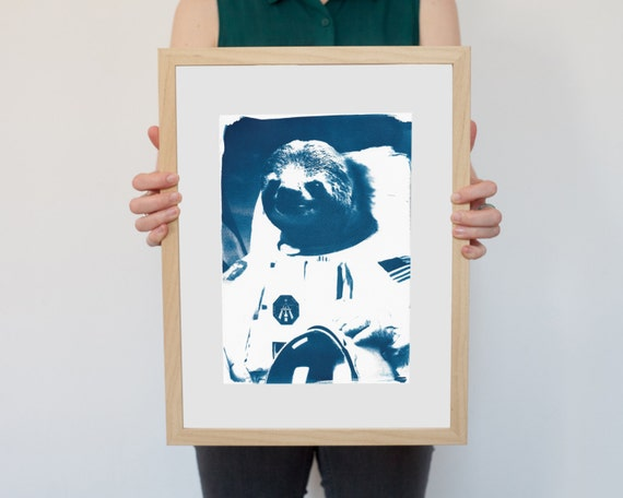 Astronaut Sloth Meme, Animal Cyanotype on Watercolor Paper, A4 size (Limited Edition)