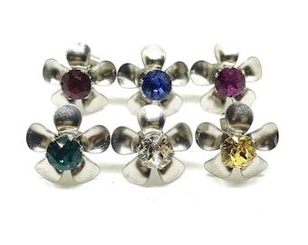 Swarovski 6mm Crystal Flower Stud Earrings In Stainless Steel In Gift Box.