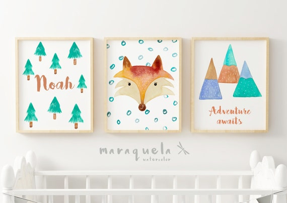 Nursery SET of 3 watercolor for kids and babies.Personalized items,custom name,baby shower gift.Fox,forest,adventures awaits,quote,animals