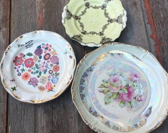 Lot of 3 Vintage Shabby Chic Plates //Serving Platters