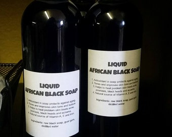 Liquid African Black Soap Raw Ghana Pure & Natural Organic Body Face Wash Peppermint Oil