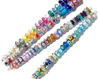 MERZIEs 100+ silver European & Bead Storage Bars Lampwork Glass Acrylic Spacers large 4-5mm hole beads set #3c - SHIPs from USA