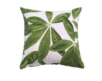 Leaves  Pillow Cover- Green, White