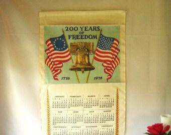 Vintage Bicentennial Towel Calendar Linen Towel July 4th 1976 Liberty Bell Patriotic Historic American Flag Kitchen Towel