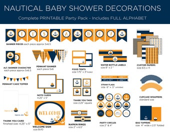 Printable Party Pack - Nautical Baby Shower - Nautical Party Pack - Nautical Theme - Boy Baby Shower - Orange and Navy
