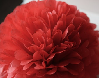 "1 pom in Ruby red Gemstone sparkling tissue paper pompom  19"" 14"" 10"" 8"" 6"" 4""- party wedding decorations"
