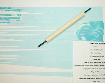Paper Bead Making Kit, Craft Kits Craft Supplies Paper Bead Supplies Blue Waves on Blue