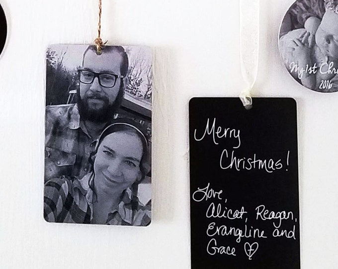 Your Photo Card Ornament - Personalized w/your Photo, Handwriting, or Font Text - Use as a Gift Tag, Ornament or Party Favor -Christmas Gift