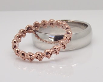 Wedding rings, immortally yours teaberry skull eternity ring, stackable ring, thin wedding ring, rose gold ring, wedding rings woman