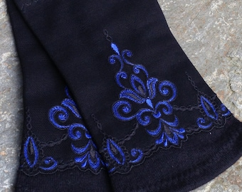 Black mitts handmade from merinowool and french lances, size S / M / L