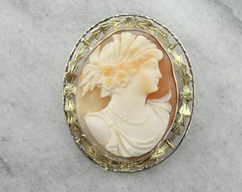 Art Nouveau Cameo Brooch With Green Gold Frame 8A1CC0-N