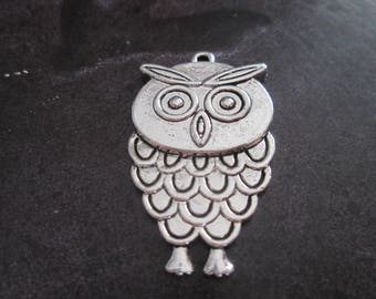 large charm / metal OWL pendant silver Mod #2 36 x 21 mm