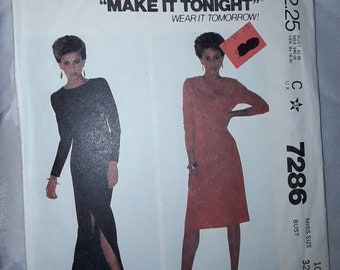 McCall's 7286, Dress Sewing Pattern, Uncut, Misses' Size 10, Slim pullover dress
