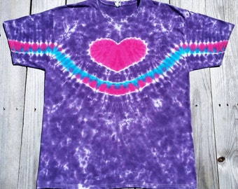 XL Purple HeartTie Dye Tshirt, Womens Tie Dye Shirt, Hippie Top, Deadhead, Festival, Ladies Tee, Deadhead, Ready to Ship