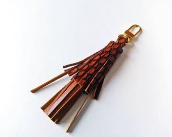 Brown Leather Tassel Handbag Charm, Boho Keychain with Clip, Bag Accessory