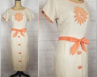 Vintage 1950s Taupe & Tangerine Orange Sunburst Linen Wiggle Dress