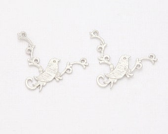 Bird on the Branch Connector, Pendant Matte Rhodium- Plated - 2 Pieces <C0056-MR>