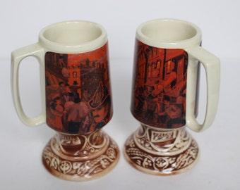 Vintage Pair of Schlitz Chicago Fire Mugs