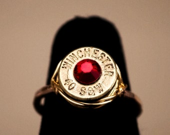 OOAK 40 caliber wire wrapped Birthstone Bullet Ring with options, Bullet Jewelry, Bullet Ring